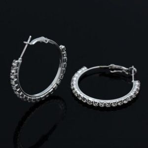 Clear Sapphire Studded Hoops